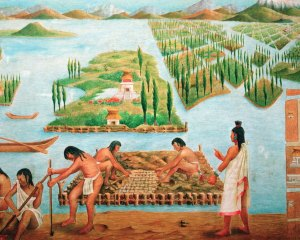 depiction of aztec chinampa systems