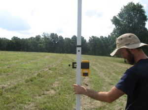 land surveying with a laser level at the carbon farming course