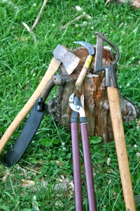 From left to right- felling ax, machete, pruners, rice knife, brush clearing ax