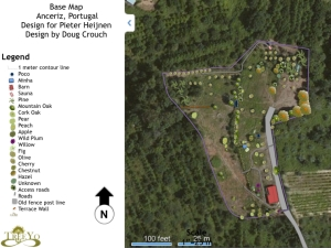Base Satellite Image from BING with trees, roads and permanent structures marked, building towards a base map