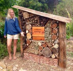 Nina showing off the newly built insect hotel at Terra Alta, 2016